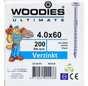 Woodies Ultimate Woodies schroeven 4.0x60 verzinkt PZD 2 deeldraad 200 stuks
