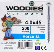 Woodies Ultimate Woodies schroeven 4.0x45 verzinkt PZD 2 deeldraad 200 stuks