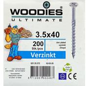 Woodies Ultimate Woodies schroeven 3.5x40 verzinkt PZD 2 deeldraad 200 stuks