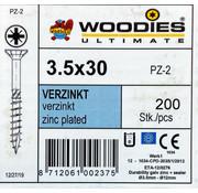 Woodies Ultimate Woodies schroeven 3.5x30 verzinkt PZD 2 deeldraad 200 stuks