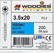 Woodies Ultimate Woodies schroeven 3.5x20 verzinkt PZD 2 deeldraad 200 stuks