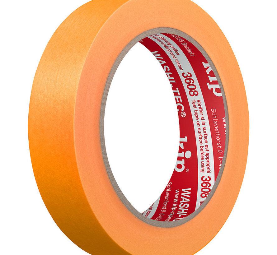 Kip 3608 Fineline Tape Washi-Tec 24mm rol 50m oranje Standaard kwaliteit