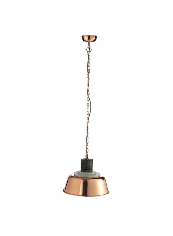 Pendelleuchte mit Kupfer-Lampenschirm von Madam Stoltz