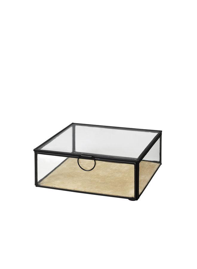 """Aufbewahrungsbox """"JANNI"""" aus Messing & Glas"""