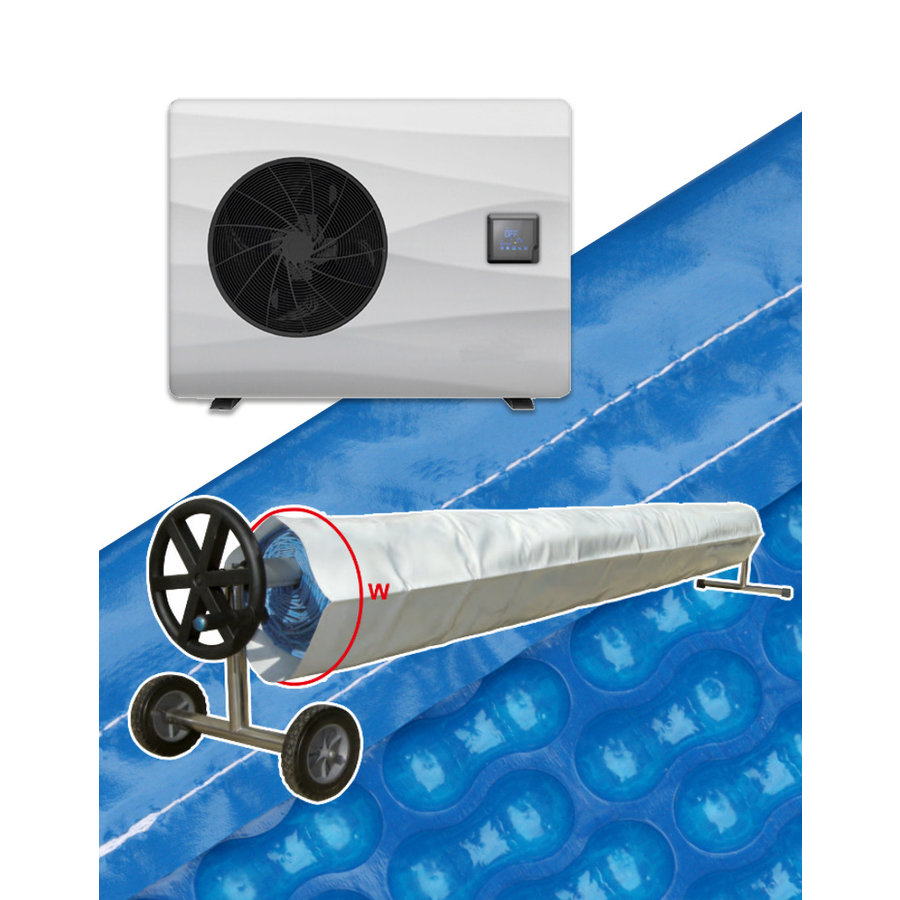 Heat pump with cover for swimming pool 4x8m-1