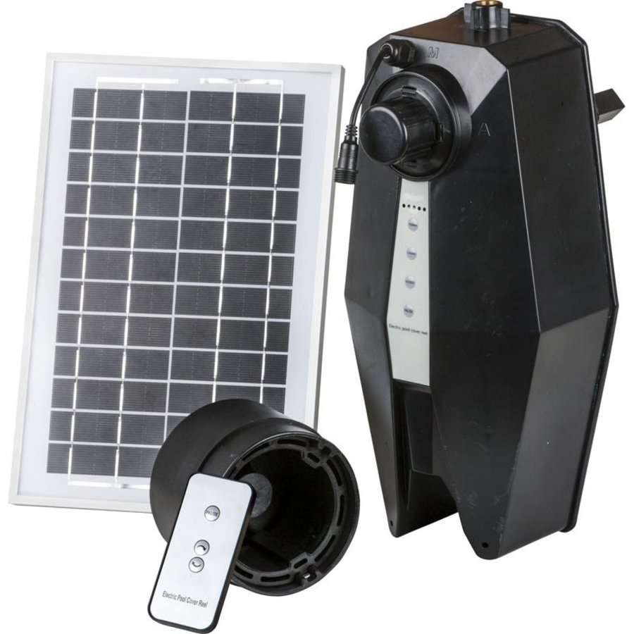 Solar panel controlled swimming pool roll-up system-3