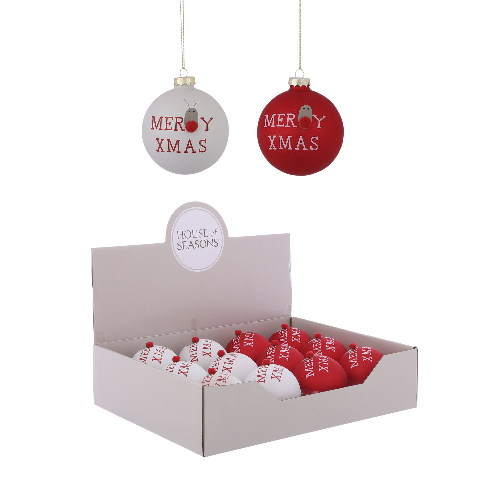 House of Seasons Ornament bal rood wit