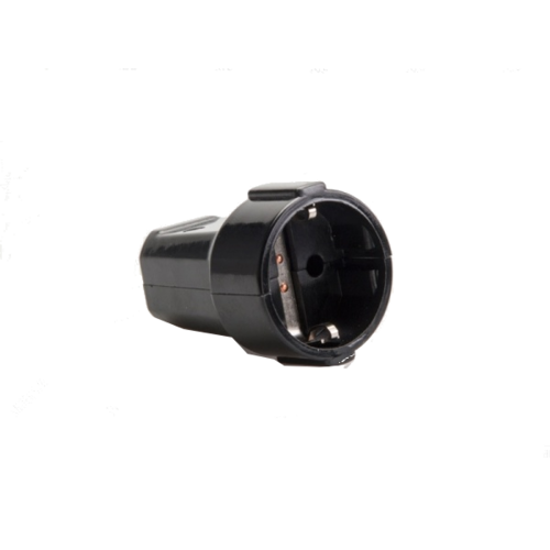 Black rubber counter plug with safety ground.