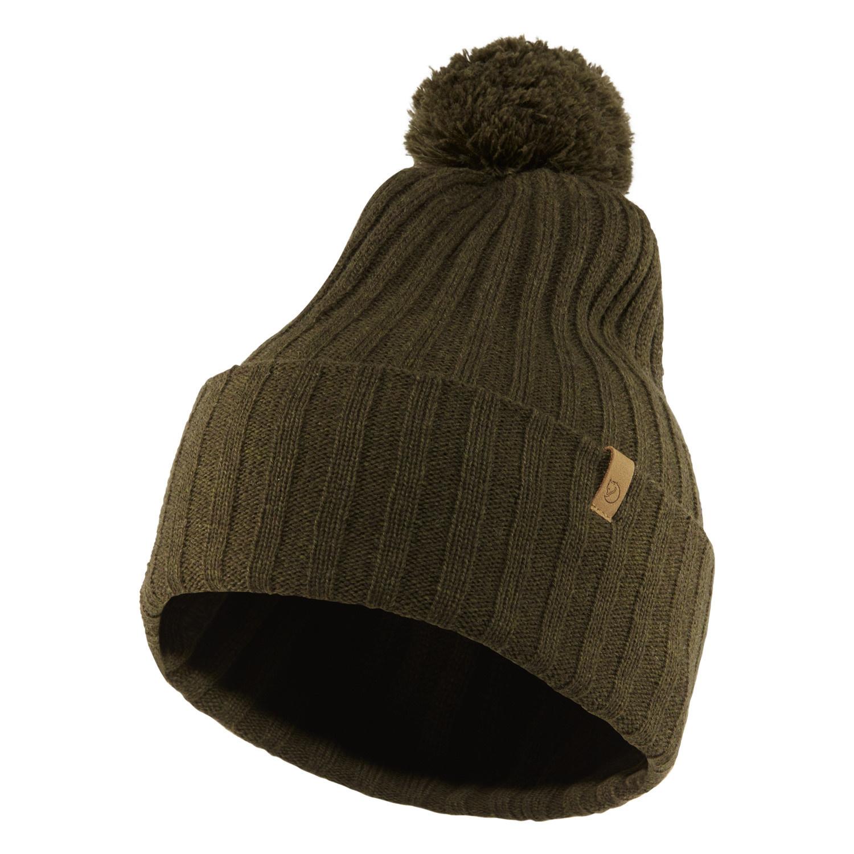Fjällräven Byron Solid Pom Hat Dark Olive-1