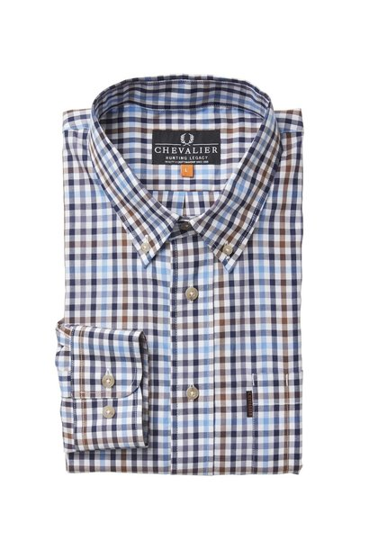 Chevalier Riley Cotton Twill Shirt BD LS Check