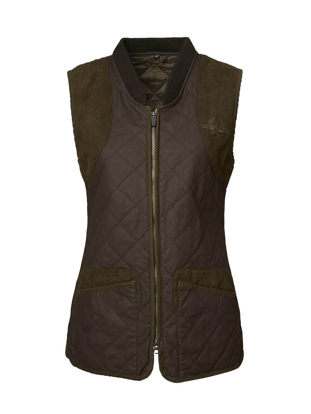 Chevalier Vintage Quilt Vest Women Brown-1