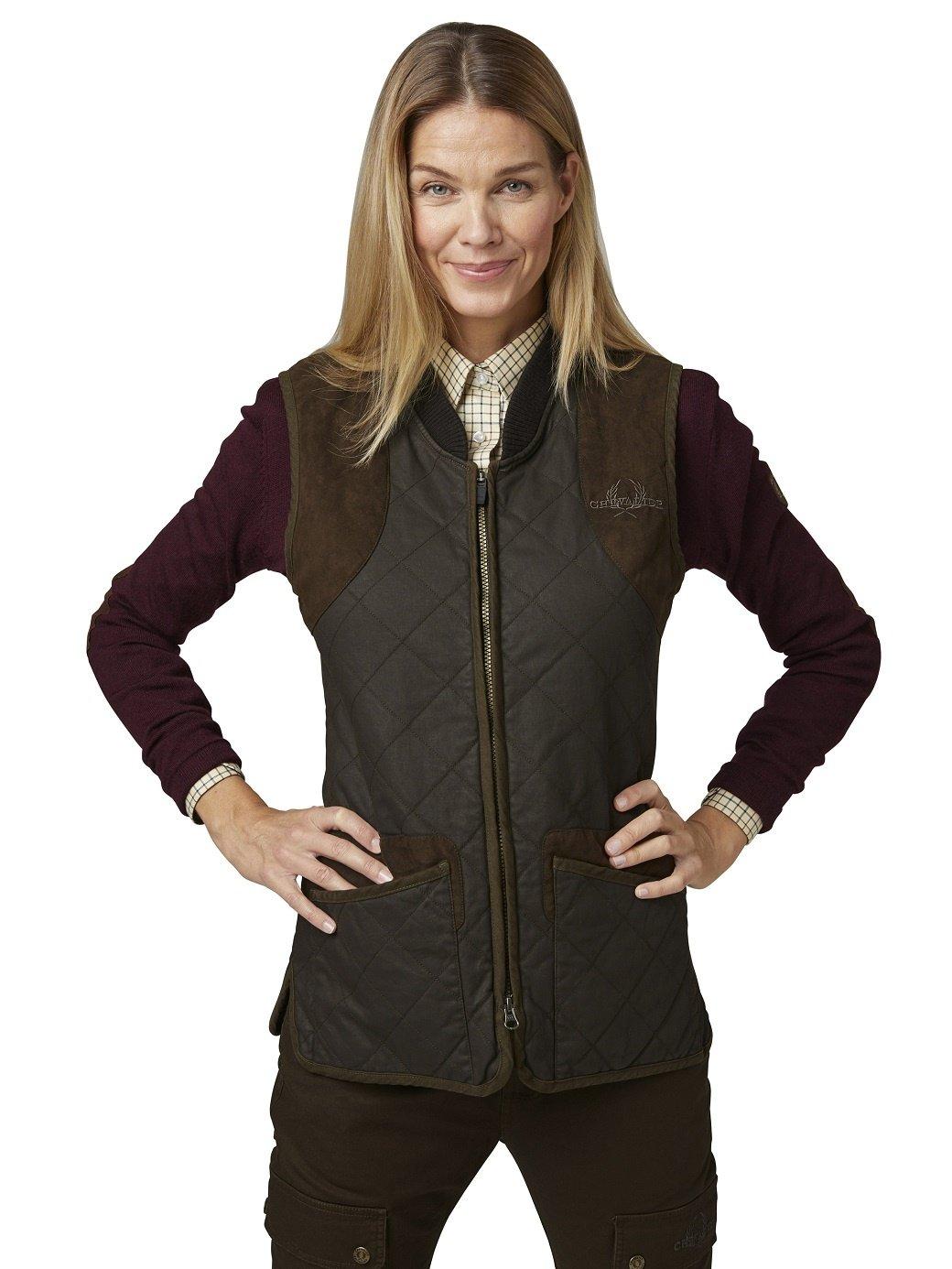 Chevalier Vintage Quilt Vest Women Brown-2