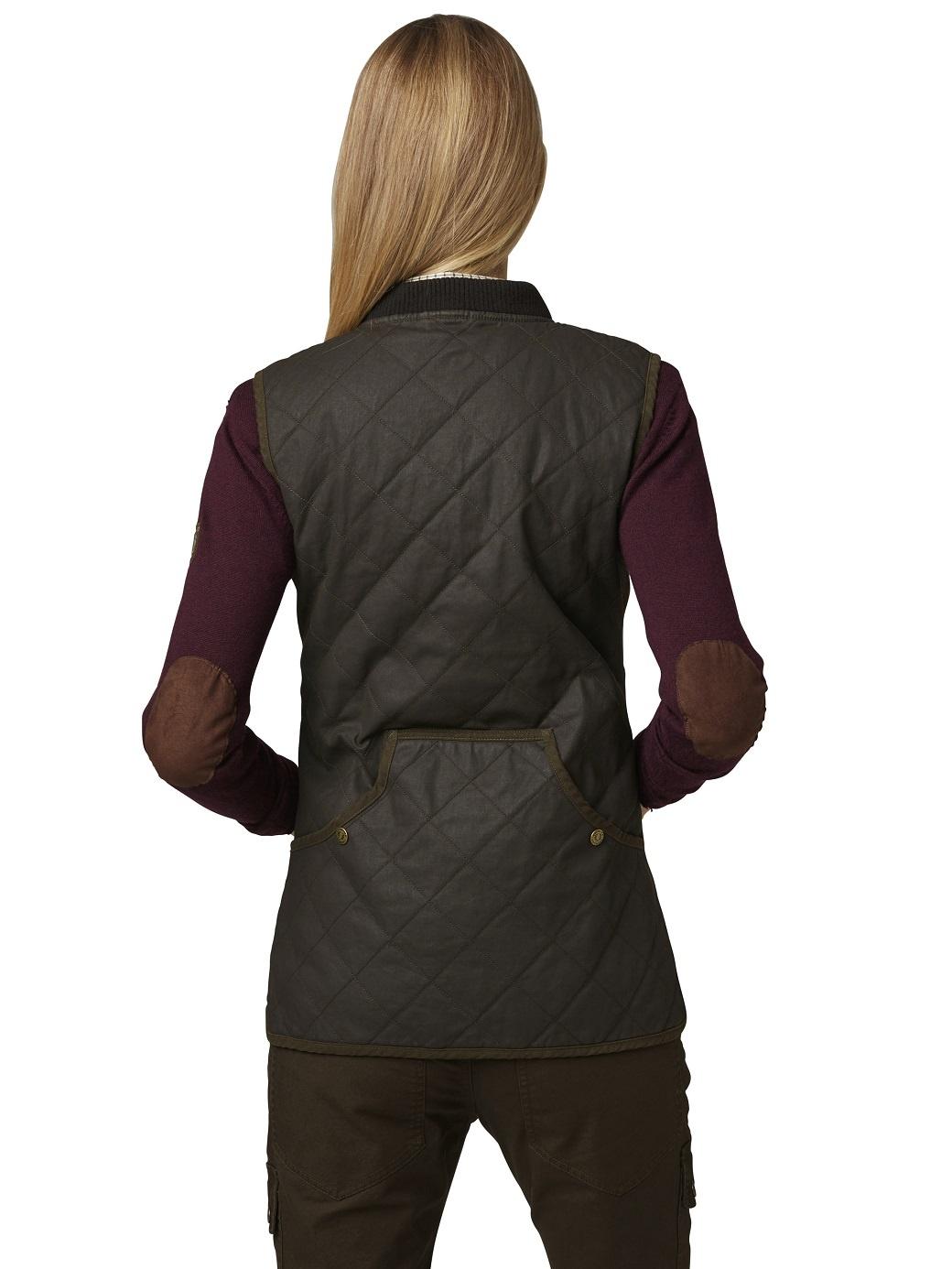 Chevalier Vintage Quilt Vest Women Brown-3