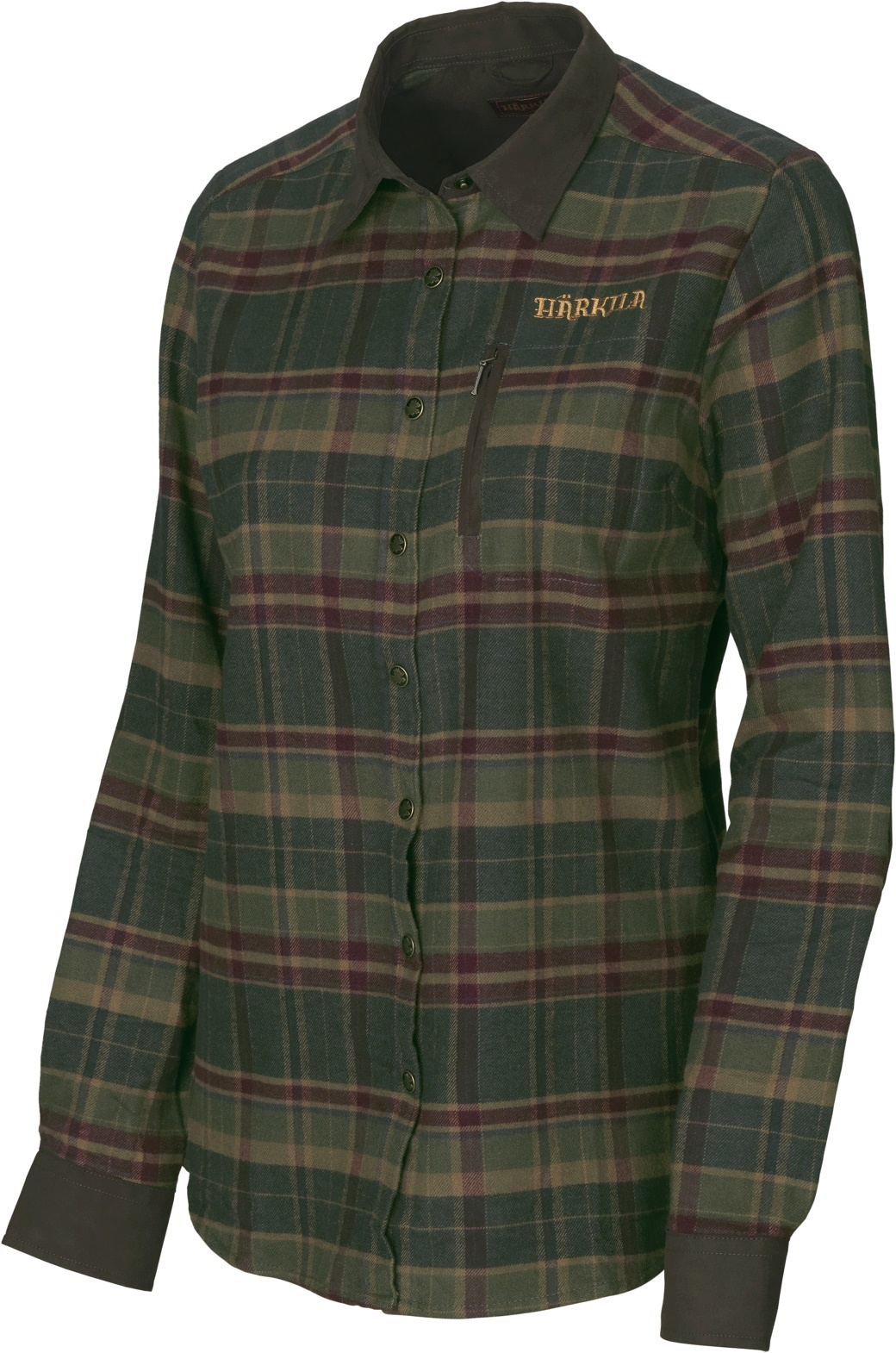 Härkila Pajala Lady L/S Shirt Rosin Green Check-1