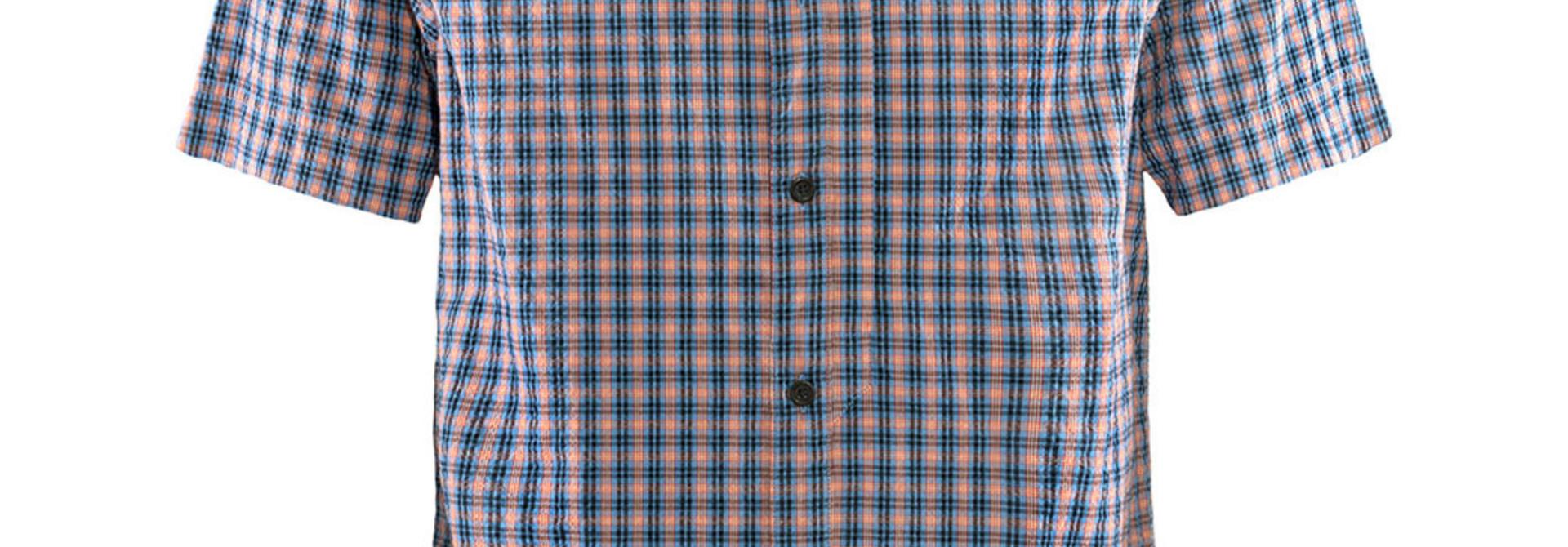 Fjällräven Svante Seersucker Shirt SS M Navy