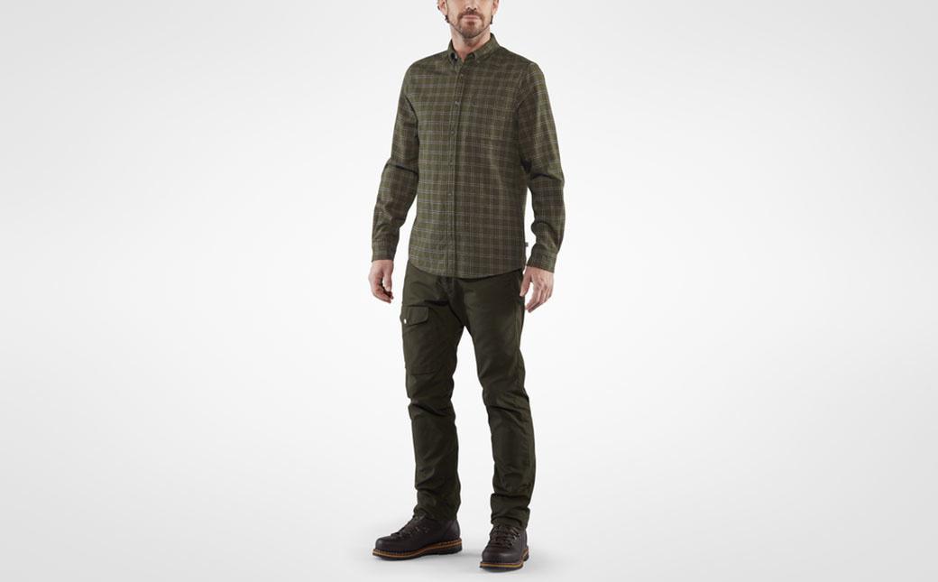 Fjällräven Övik Flannel Shirt M Deep Forest-3