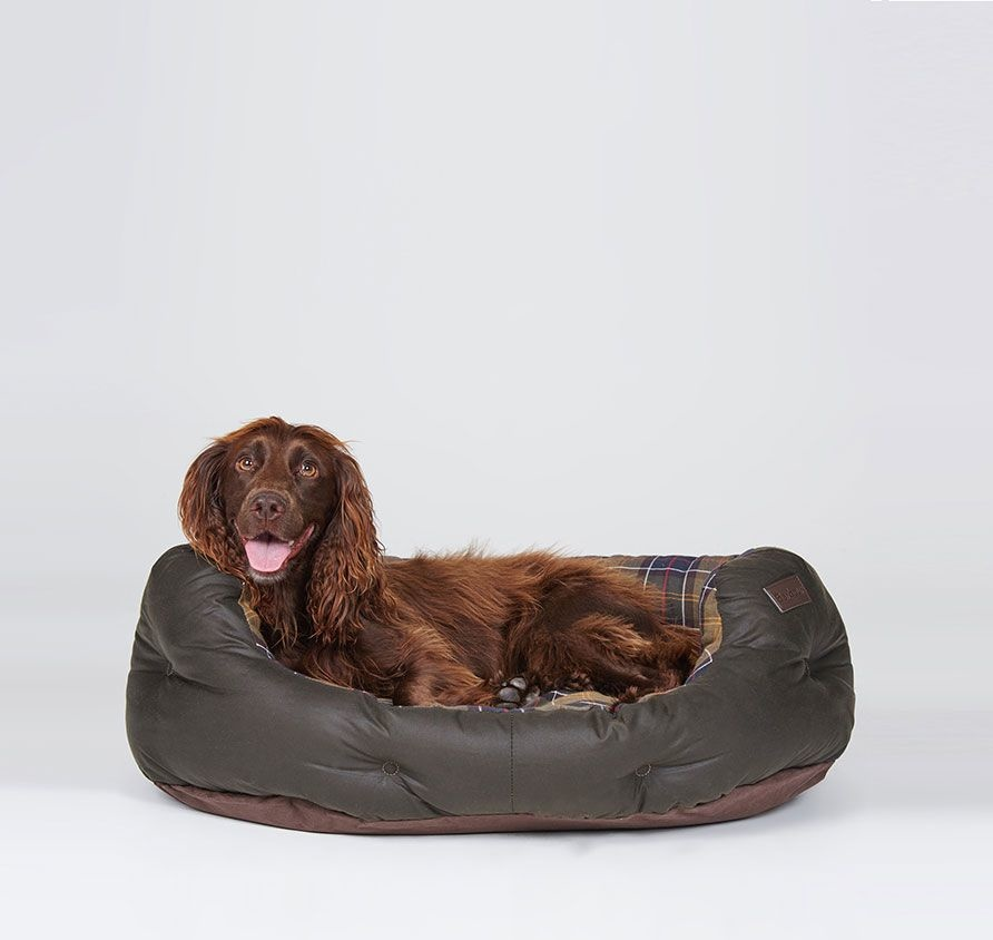 Barbour Wax/Cotton Dog Bed 30IN  Classic/Olive-2