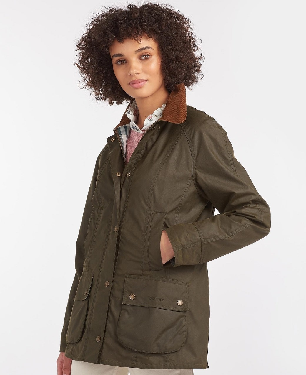 Barbour Aintree Wax Archive Olive-Pink Olive Tartan-2