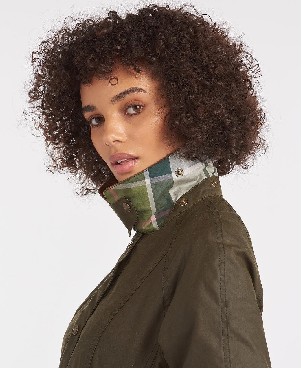 Barbour Aintree Wax Archive Olive-Pink Olive Tartan-5