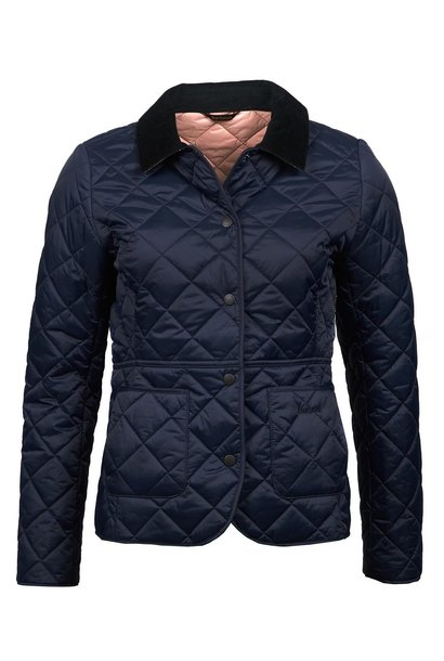 Barbour Deveron Quilt Navy-Pale Pink