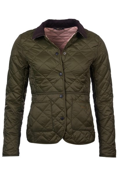 Barbour Deveron Quilt Olive- Pale Pink