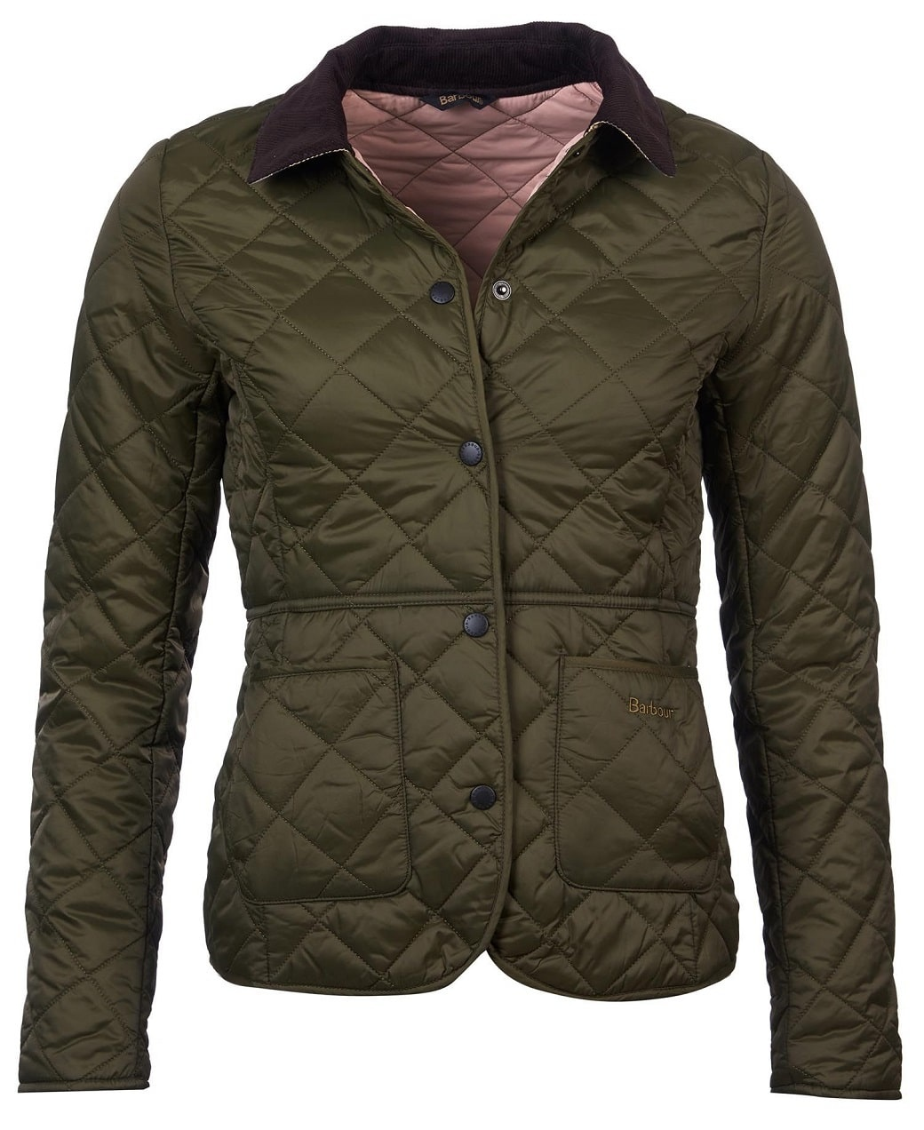 Barbour Deveron Quilt Olive- Pale Pink-1