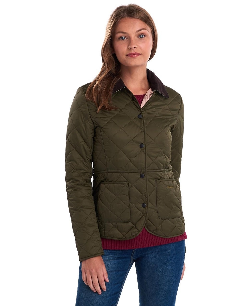 Barbour Deveron Quilt Olive- Pale Pink-2