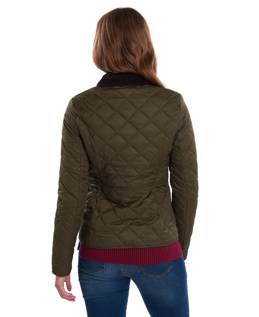 Barbour Deveron Quilt Olive- Pale Pink-4