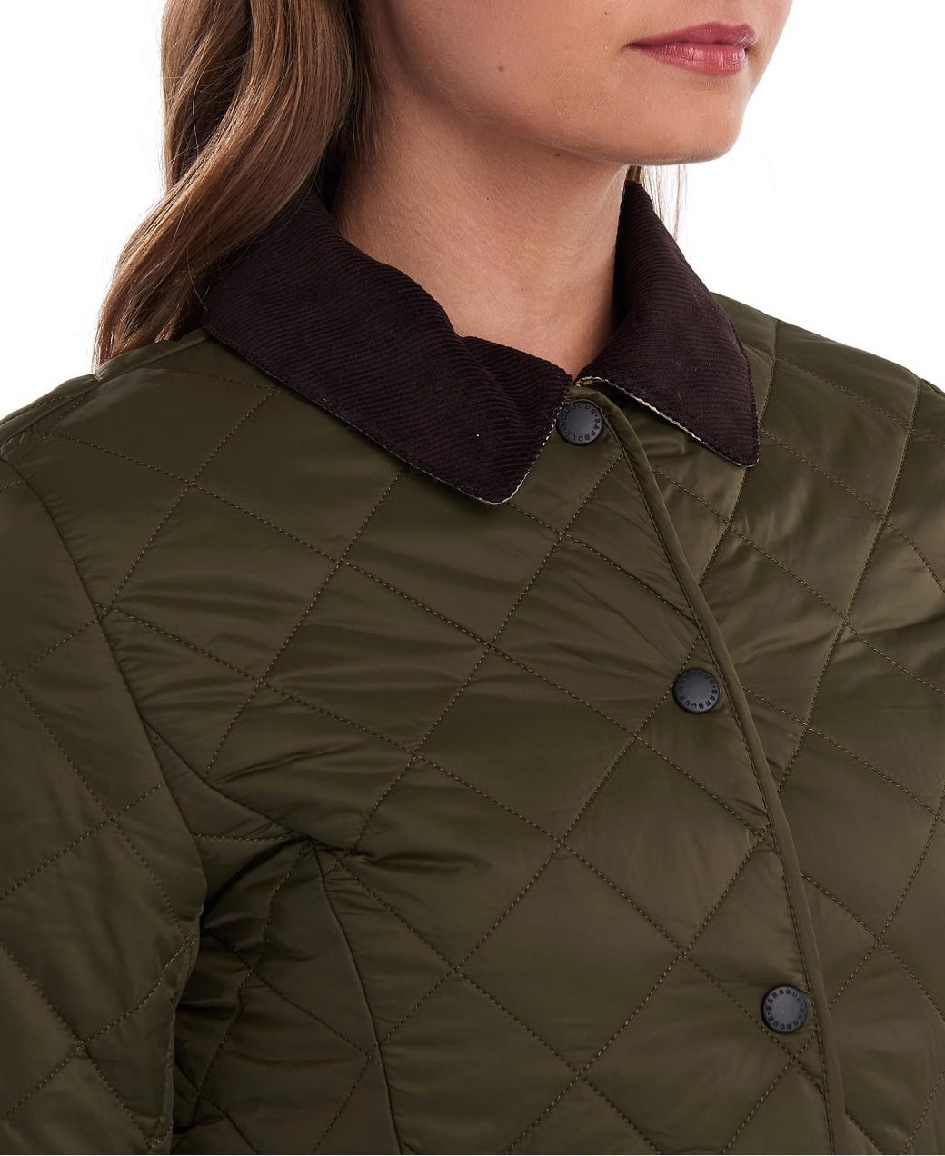 Barbour Deveron Quilt Olive- Pale Pink-6