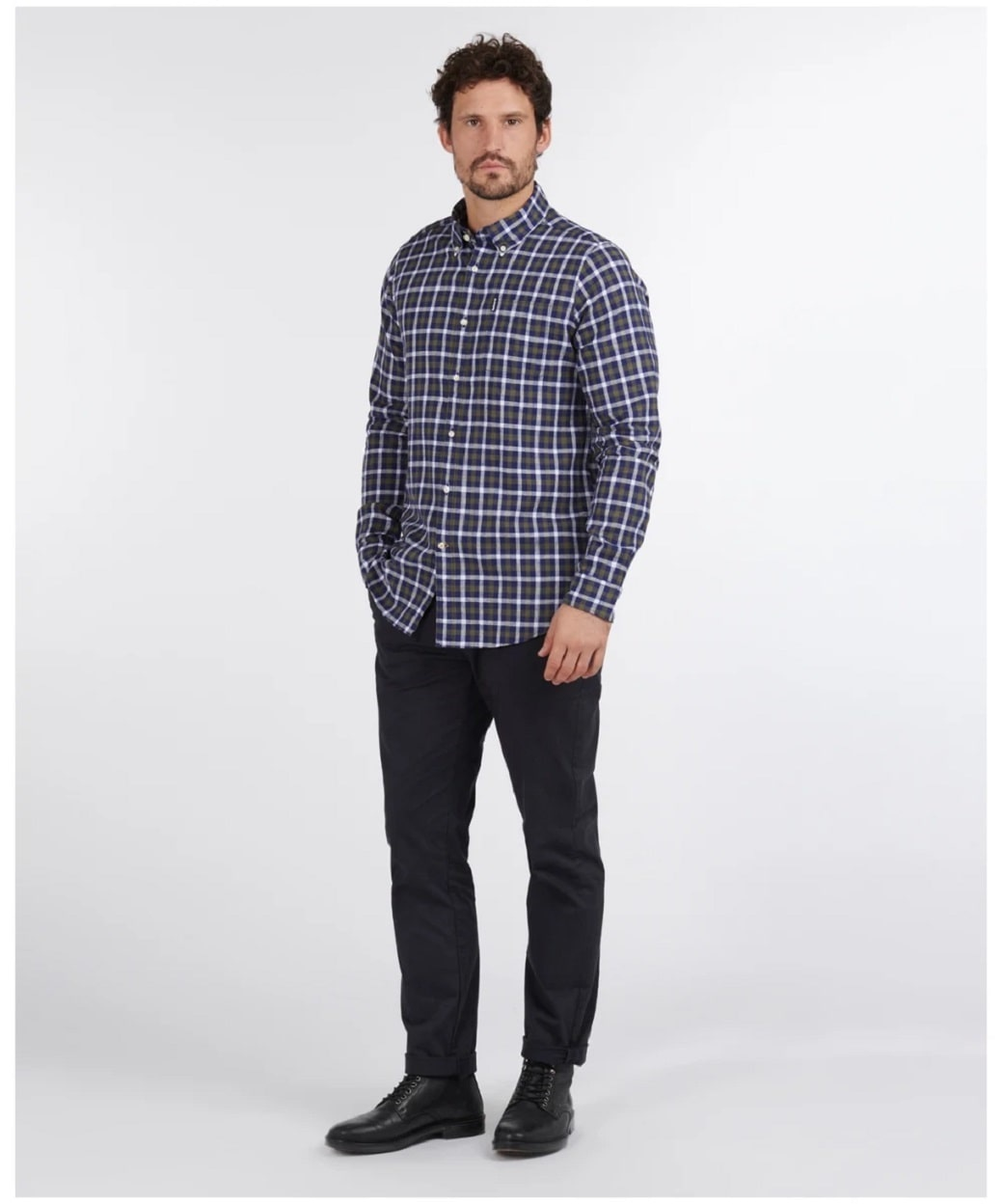 Barbour Linen Mix 3 Tailored Inky Blue-5
