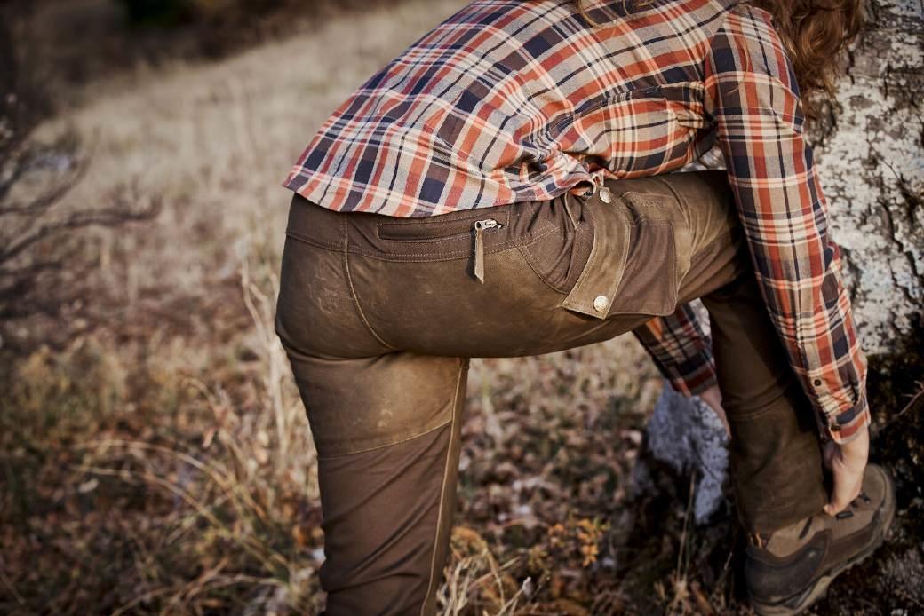 Deerhunter Lady Paris Leather Trousers Walnut-5