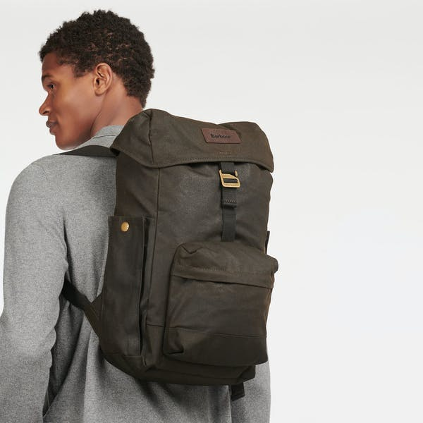 Barbour Essential Wax Backpack  Olive-5