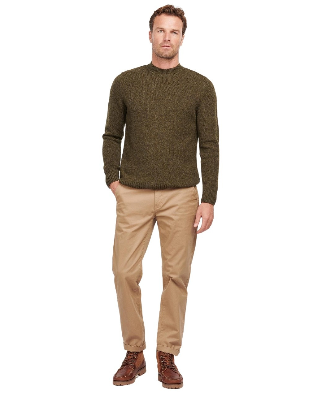 Barbour Sid Crew Olive Marl-6