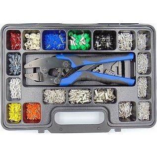Cable-Engineer Professionele adereindhulzen kit met multi-krimptang, 2 verwisselbare profielen en 3700 adereindhulzen in alle maten