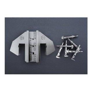 Cable-Engineer Krimpprofiel voor krimptang met wisselsysteem speciaal voor open barrel terminals in de maten: 0,1-0,25 / 0,25-0,5 / 0,5-1.0 (AWG 26-24 / 24-22 / 22-18)