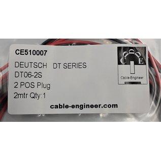 Cable-Engineer Deutsch DT Pigtail-set: 2-Pos. Plug (man) + 2x 2m. 0,75mm2 FLRY-B kabel