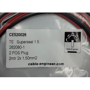TE Connectivity AMP Superseal 1.5 Pigtail-set: 2-Pos. Plug (man) connector + 2x 2m. FLRY-B  - 1,5mm2