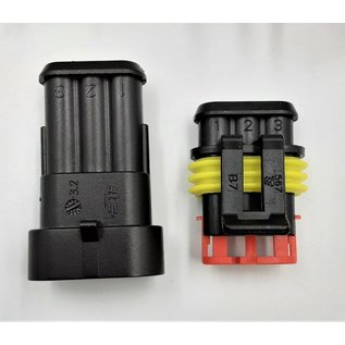 TE Connectivity AMP Superseal 1.5 Pigtail set 3-Pos. Tab & Plug (man/vrouw)  Connectors + 6x 2m. FLRY-B kabel  1,5mm2