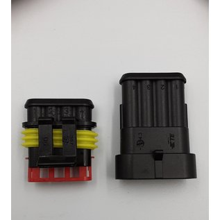 TE Connectivity AMP Superseal 1.5 Pigtail set 4-Pos. Tab & Plug  connector + 8x 2m. FLRY-B kabel  1,5mm2