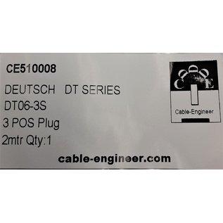 Cable-Engineer Deutsch DT Pigtail-set: 3-Pos. Plug (man) + 3x 2meter 0,75mm2 FLRY-B kabel
