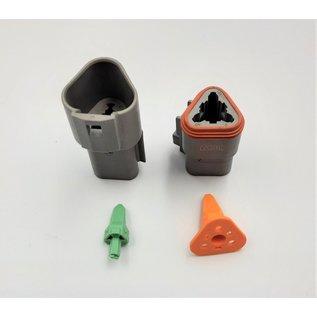 Cable-Engineer Deutsch DT Pigtail-set: 3-Pos. Receptacle & Plug  + 6x 2meter 0,75mm2 FLRY-B kabel