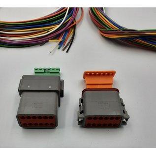 Cable-Engineer Deutsch DT Pigtail-set: 12-Pos. Receptacle & Plug + 24x 2meter 0,75mm2 FLRY-B kabel