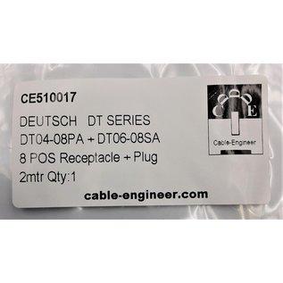 Cable-Engineer Deutsch DT Pigtail-set: 8-Pos. Receptacle & Plug + 16x 2meter 1,5mm2 FLRY-B kabel