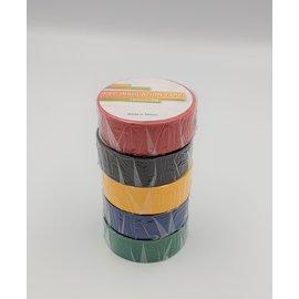 Isolatie tape  15mm x 10m. - 5 rollen - 5 kleuren
