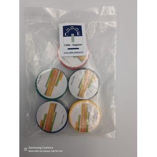 5 Rollen gekleurde isolatie of PVC tape van 19mm breed en 10meter lang