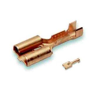 Cable-Engineer 50x Vlakstekerhuls 6,3 x 0,8 ongeïsoleerd van Messing voor draad Ø 0,5-1,0mm