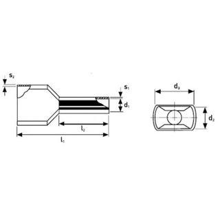 Knipex Knipex geïsoleerde dubbele adereindhulzen voor draad 2x 4,0mm2 per 100stuks verpakt - 97 99 375