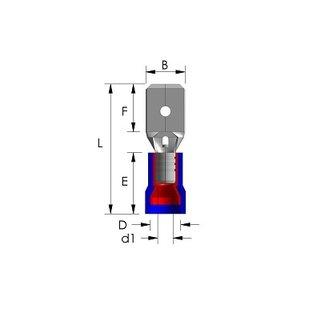 Cable-Engineer 100 x Vlaksteker kabelschoenen  Blauw 4,8 x 0,8 mm ( Tab of male disconnector)
