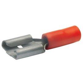 Cable-Engineer Vlakstekerhuls  6,3 x 0,8 mm - Rood 1/2 geïsoleerd 100 stuks