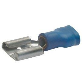 Cable-Engineer Vlakstekerhuls  6,3 x 0,8 mm - Blauw 1/2 geïsoleerd 100 stuks